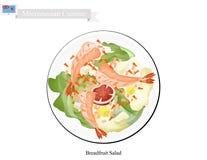 Brödfruktsallad med Shimp, populär mat i Mikronesien royaltyfri illustrationer