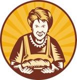 brödgrannyhemmafrun släntrar royaltyfri illustrationer