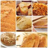 Brödproduktcollage Arkivbild