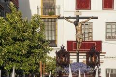 Brödraskap av den Negritos påskveckan i Seville Arkivbilder