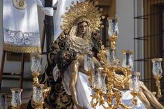 Brödraskap av marknadsplatsen, helig vecka i Seville Arkivfoto