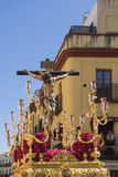 Brödraskap av San Bernardo i den heliga veckan i Seville Fotografering för Bildbyråer