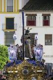 Brödraskap av tystnad, påsk i Seville Royaltyfri Fotografi