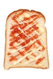 Brödrostat bröd med jordgubbedriftstopp Royaltyfri Bild