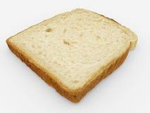 Brödskiva - enkel rostat brödnärbild - som isoleras på vit Arkivfoto