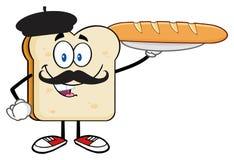 Brödskivatecken med Baret och mustasch som framlägger den perfekta franskbrödbagetten stock illustrationer