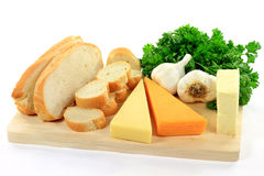 brödvitlökutgångspunkten gjorde produktspread Royaltyfri Bild