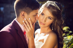 Bröllop brud, brudgum Arkivfoton