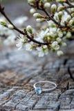 Bröllop eller förlovningsring Träyttersidan, vårblommor Fotografering för Bildbyråer