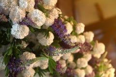 Bröllop- eller partigarnering av vita och purpurfärgade blommor Båge som dekoreras med lupines arkivbild