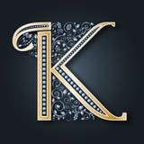 bröllop för abstraktionkortillustration Vektorbokstav K Guld- alfabet på en mörk bakgrund Ett behagfullt heraldiskt symbol Initia stock illustrationer