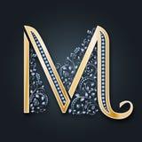 bröllop för abstraktionkortillustration Vektorbokstav M Guld- alfabet på en mörk bakgrund Ett behagfullt heraldiskt symbol Initia vektor illustrationer