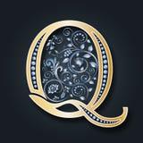 bröllop för abstraktionkortillustration Vektorbokstav Q Guld- alfabet på en mörk bakgrund Ett behagfullt heraldiskt symbol Initia royaltyfri illustrationer