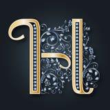 bröllop för abstraktionkortillustration VektorbokstavsH Guld- alfabet på en mörk bakgrund Ett behagfullt heraldiskt symbol Initia stock illustrationer