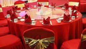 bröllop för bankettinställningstabell royaltyfria bilder