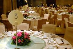 bröllop för bankettinställningstabell Fotografering för Bildbyråer