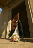 bröllop för brudgum för brudceremonikyrka Royaltyfria Foton