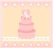 bröllop för cakekortdesign Arkivfoto