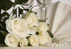bröllop för fokusexponeringsglastabell Arkivbild