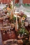 bröllop för fokusexponeringsglastabell arkivbilder
