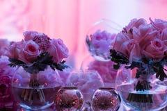 bröllop för fokusexponeringsglastabell Royaltyfri Fotografi