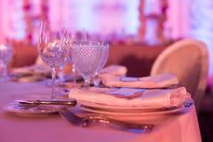 bröllop för fokusexponeringsglastabell Royaltyfri Foto