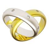 bröllop för guldcirkel 3d Royaltyfria Bilder