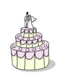 bröllop för illustration för brudcakebrudgum Royaltyfri Foto