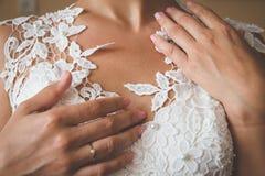 bröllop för klänningfragmentbeställning Arkivfoton