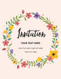 bröllop för korthälsningsinbjudan Design för illustration för mall för cirkelvektorbakgrund Royaltyfri Fotografi