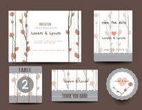 bröllop för kortset Bröllopinbjudningar, tacka dig att card Arkivfoto