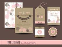 bröllop för kortset Tacka dig att card vektor Royaltyfri Foto