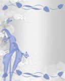 bröllop för lilja för inbjudan för blå kantcalla blom- royaltyfri illustrationer