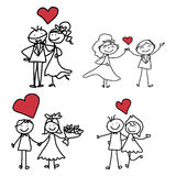 Bröllop för lycka för handteckningstecknad film Royaltyfria Bilder