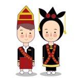 Bröllop för Malaysia Sabah brud- och brudgumtecknad film Traditionell medborgarekläder Ställ in av tecknad filmtecken i tradition stock illustrationer