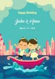 bröllop för rengöringsduk för mall för sida för bakgrundskorthälsning universal De lyckliga paren på fartyget med stadbakgrund Royaltyfri Bild