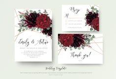 Bröllop inviterar inbjudan, rsvp, tacka dig den blom- designen för kortet r stock illustrationer