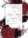 Bröllop inviterar, inbjudan sparar datumkortdesignen Rött marsal stock illustrationer