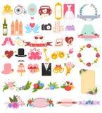 Bröllop- och Valentine Love symbolsuppsättning Arkivfoto