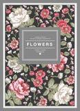 Bröllop tackar inbjudan Härlig realistisk illustration för victorian för gravyr för vektor för ram för kort för blommapionkamomil Arkivfoton
