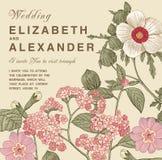 Bröllop tackar inbjudan Härligt realistiskt blommaheliotropkort Ram etikett Illustration för vektorgravyrvictorian