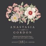 Bröllop tackar inbjudan Härligt realistiskt blommaheliotropkort Ram etikett Illustration för vektorgravyrvictorian Arkivfoto