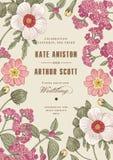 Bröllop tackar inbjudan Härligt realistiskt blommaheliotropkort Ram etikett Illustration för vektorgravyrvictorian Royaltyfria Foton