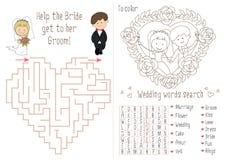 Bröllopaktivitetsbok för ungar Labyrinthjärtan Arkivfoton