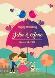 Bröllopbakgrundsdesign Paren på trädgården royaltyfri illustrationer