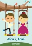 Bröllopbakgrundsdesign Paren som spelar gungan Arkivbilder