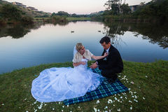Bröllopbruden justerar brudgumklänningen royaltyfria bilder