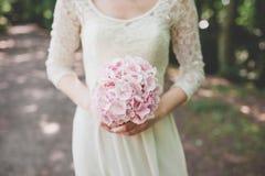 Bröllopbruden ringer buketten Royaltyfria Foton