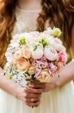 Bröllopbukett, brud- bukett, boutonniere Royaltyfria Foton