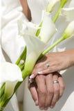 Bröllopbukett med rings.GN arkivbilder